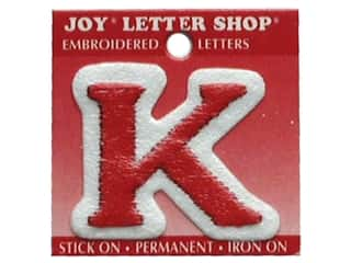 Sports Joy Letter Shop Iron On White: Joy Letter Shop Iron On Red K