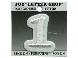 "Sports Joy Letter Shop Iron On White: Joy Lettershop Iron-On Number  ""1"" Embroidered 1 1/2 in. White"