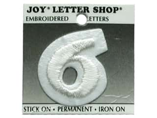 "Joy Lettershop Iron-On Number  ""6"" Embroidered 1 1/2 in. White"