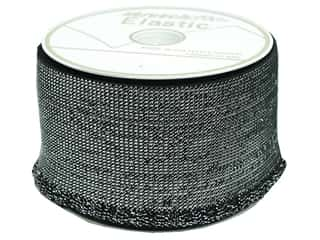 Elastic 10 Yards: Stretchrite Elastic Ruffle 3 in. x 10 yd.  Black/Silver (10 yards)