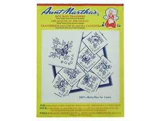 "Towels 24"": Aunt Martha's Hot Iron Transfer #3437 Red Butterflies for Linens"
