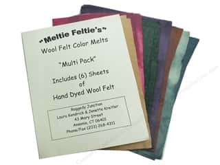 wool felt: Raggedy Junction Meltie Feltie 6pc  Assortd Colors