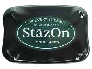 Rubber Stamping Height: Tsukineko StazOn Large Solvent Ink Stamp Pad Forest Green