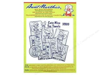 Animals Aunt Martha's: Aunt Martha's Hot Iron Transfer #3820 Red Mice Tea Towels