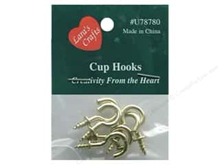 "Hardware Hardware Hooks: Lara's Brass Plated Cup Hook 1/2"" 6 pc"