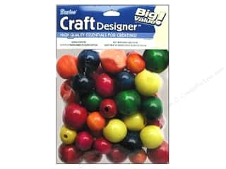 wood Beads: Darice Bead CD Wood 45pc Large Astd Colors