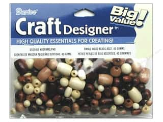 Beads: Darice Beads Craft Designer Wood 40gm Natural and Tan