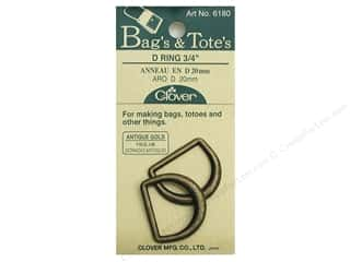 "1.5"" D rings: Clover D Rings 3/4"" Antique Gold"
