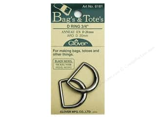 "Purse Making Clover Rings: Clover D Rings 3/4"" Black Nickel"