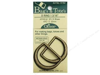 "Buckles: Clover D Rings 1 3/16"" Antique Gold"