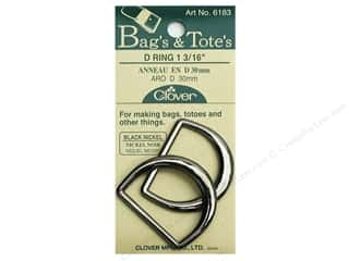 "Purse Making: Clover D Rings 1 3/16"" Black Nickel"