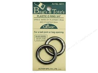 "Purse Making Black: Clover Plastic O Rings 3/4"" Black Nickel"