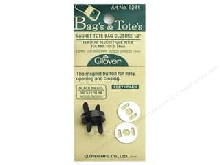 "Tote Bag Black: Clover Magnet Tote Bag Closures 1/2"" Black Nickel"