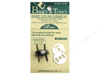 "Tote Bag Black: Clover Magnet Tote Bag Closures 3/4"" Black Nickel"
