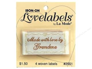 Blumenthal Brown: Blumenthal Iron-On Lovelabels 4 pc. Made with Love by Grandma