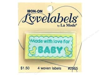 Love & Romance Blumenthal Iron-On Lovelabels: Blumenthal Iron-On Lovelabels 4 pc. Made with Love for Baby