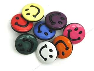 Jesse James Buttons inches: Jesse James Dress It Up Embellishments Color Me Smiley Primary 7 pc.