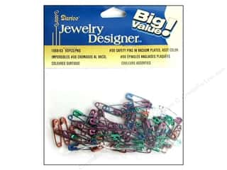 Darice Jewelry Designer Safety Pins #00 Assorted Colors 60pc