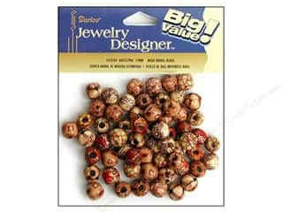 wood Beads: Darice Bead JD Wood 12mm Barrel Printed 60pc