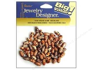 wood beads: Darice Bead JD Wood 6x10mm Oval Printed 60pc