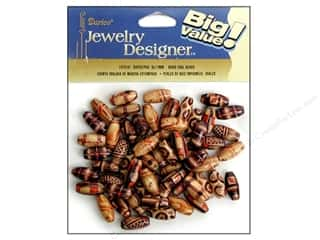 wood beads: Darice Bead JD Wood 8x17mm Oval Printed 60pc