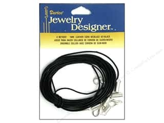 Leather Supplies Kits: Darice Jewelry Designer Findings Leather Necklace Kit 1mm Black