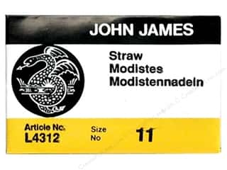 John James Needles, Pullers, Cases & Threaders: John James Needle Milliners/Straw 25 pc Size 11 (2 packages)
