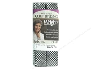 ABC & 123 mm: Wrights Double Fold Bias Quilt Bind 3yd Gingham Black (3 packages)
