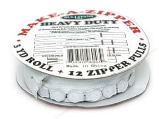Zippers: Sullivans Heavy-Duty Make-A-Zipper 3yd Reel White