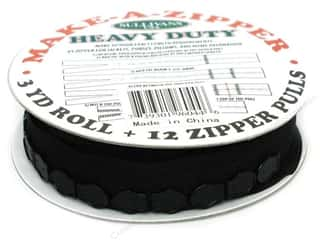 Zippers: Sullivans Heavy-Duty Make-A-Zipper 3yd Reel Black