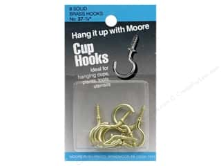 Moore Cup Hooks Solid Brass 7/8&quot; 8 pc