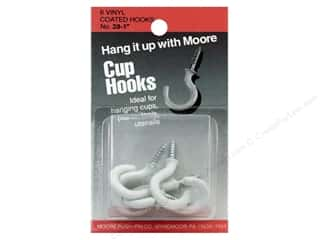 "Handles Framing: Moore Cup Hooks Vinyl Coated 1"" White 6 pc"