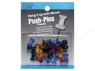 Moore Push-Pin Plastic Head 20 pc Assrtd Gem Stone