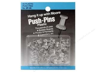 Bulletin Boards Office: Moore Push-Pin Plastic Head 20 pc Clear