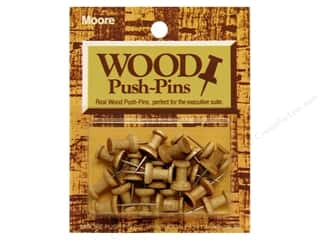 Push Pins Back to School: Moore Push-Pin Wooden Head 20 pc Golden Oak