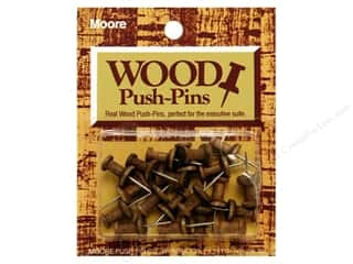 Bulletin Boards Office: Moore Push-Pin Wooden Head 20 pc Walnut