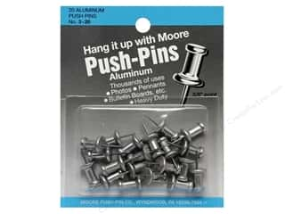 Bulletin Boards Office: Moore Push-Pin Aluminum Head 20 pc Silver