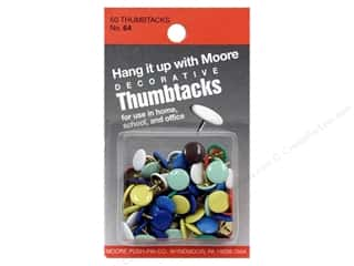 Moore Thumb Tack Decorative Assorted 60 pc