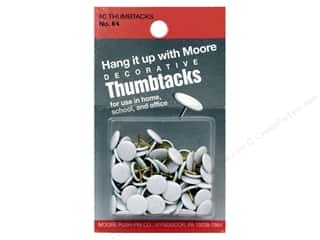 Moore Thumb Tack Decorative White 60 pc