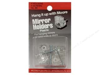 Plastics Art, School & Office: Moore Mirror Hangers Clip & Screw 4 pc Plastic
