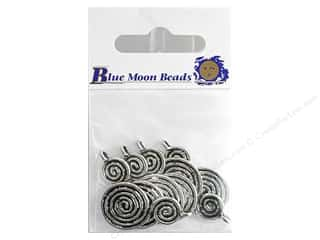 Blue Moon Dangle Cast Metal Spiral Large Slvr 6pc