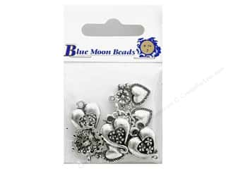 Blue Moon Charms Metal Heart Med Astd Slv 10pc