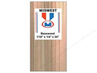 "Midwest Basswood Sheet Strip 1/16""x1/4""x24"" (42 pieces)"