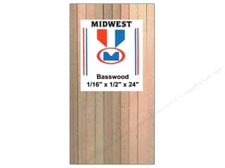 "Midwest Basswood Sheet Strip 1/16""x1/2""x24"" (24 pieces)"