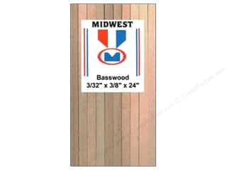 Miniatures / Scene Miniatures Clearance Crafts: Midwest Basswood Strip 3/32 x 3/8 x 24 in. (28 pieces)