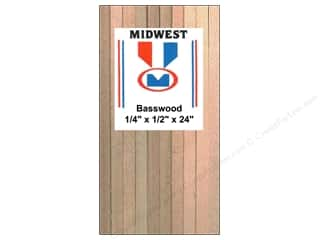 "Midwest Basswood Sheet Strip 1/4""x1/2""x24"" (12 pieces)"