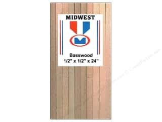 Midwest Basswood Sheet Strip 1/2&quot;x1/2&quot;x24&quot; (10 pieces)