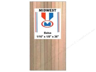 Midwest Products Company Wood Strips: Midwest Balsa Wood Strips 1/16 x 1/8 x 36 in. (57 pieces)
