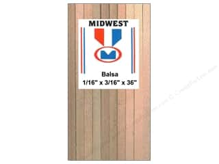 Midwest Products Company Wood Strips: Midwest Balsa Wood Strips 1/16 x 3/16 x 36 in. (36 pieces)