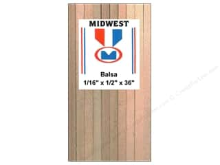 Midwest Products Company Wood Shapes: Midwest Balsa Wood Strips 1/16 x 1/2 x 36 in. (24 pieces)